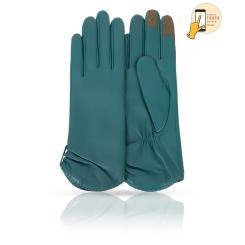 Стильные сенсорные перчатки из натуральной кожи ягненка бирюзового цвета от Michel Katana, арт. i.K11-ETOILE/PEACH