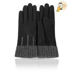 Женские перчатки из матовой натуральной кожи с шерстяными манжетами от Michel Katana, арт. i.K11-GNELLE/BL