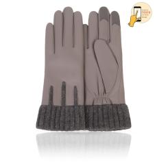 Красивые сенсорные перчатки из натуральной кожи ягненка, серебристо-серого цвета от Michel Katana, арт. i.K11-GNELLE/ROCK