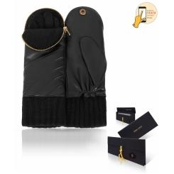 Модные женские варежки черного цвета, в кожаном футляре с застежкой-молнией от Michel Katana, арт. i.K11-MITAINE1/BL