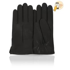 Сенсорные мужские перчатки из натуральной кожи ягненка черного цвета от Michel Katana, арт. i.K11-ONCY/BL