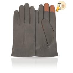 Сенсорные мужские перчатки из натуральной кожи ягненка серого цвета от Michel Katana, арт. i.K11-ONCY/FRIGATE