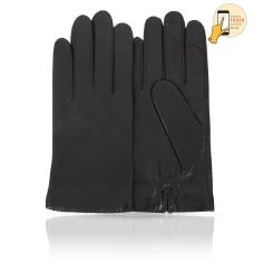 Стильные сенсорные мужские перчатки, из натуральной кожи ягненка черного цвета от Michel Katana, арт. i.K11-PAR/BL