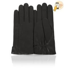 Сенсорные мужские перчатки из натуральной кожи ягненка черного цвета от Michel Katana, арт. i.K11-WIROY/BL