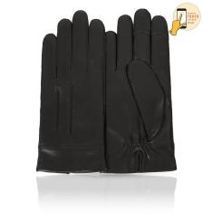 Сенсорные перчатки из натуральной кожи ягненка черного цвета от Michel Katana, арт. i.K12-CORJON/BL