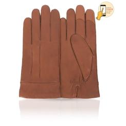 Стильные сенсорные перчатки для мужчин, из натуральной кожи ягненка светло-коричневого цвета от Michel Katana, арт. i.K12-CORJON/MEBRO