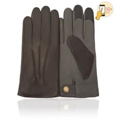 Сенсорные мужские перчатки из натуральной кожи ягненка серо-коричневого цвета от Michel Katana, арт. i.K13-BART/BL.FRIGATE