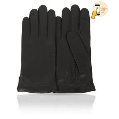 Мужские сенсорные перчатки черного цвета из натуральной кожи ягненка от Michel Katana, арт. i.K13-FRENCY/BL