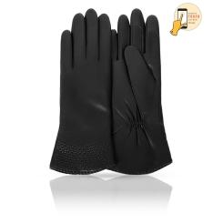 Сенсорные женские кожаные перчатки, классическая модель черного цвета от Michel Katana, арт. i.K13-OBERE/BL