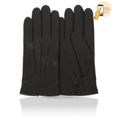 Мужские перчатки из натуральной кожи ягненка черного цвета, для сенсорных экранов от Michel Katana, арт. i.K13-TRIJON/BL