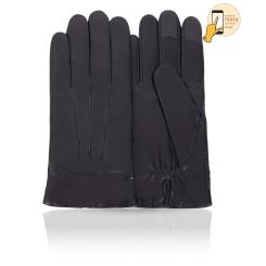 Сенсорные мужские перчатки из натуральной кожи ягненка темно синего цвета от Michel Katana, арт. i.K13-TRIJON/NAVY