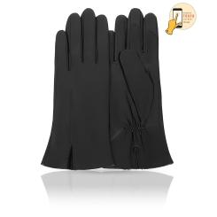 Сенсорные женские кожаные перчатки, классическая модель черного цвета от Michel Katana, арт. i.K81-ACILY/BL
