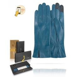 Сенсорные женские перчатки из натуральной кожи, голубого цвета, с шелковой подкладкой от Michel Katana, арт. i.K81-ACILY.g/PEACH