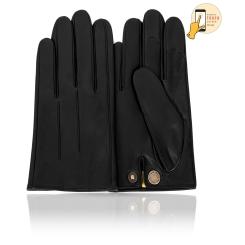 Сенсорные мужские перчатки из натуральной кожи ягненка черного цвета от Michel Katana, арт. i.K81-AINARD/BL