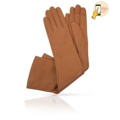 Длинные сенсорные перчатки светло-коричневого цвета, из натуральной кожи ягненка от Michel Katana, арт. i.K81-ANE_27/BRONTE