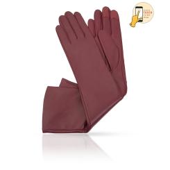 Стильные длинные перчатки, из натуральной кожи ягненка винного цвета, для сенсорных экранов от Michel Katana, арт. i.K81-ANE_27/WINE