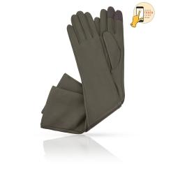 Сенсорные перчатки из натуральной кожи ягненка оливкового цвета от Michel Katana, арт. i.K81-ANE_32/OLIVER