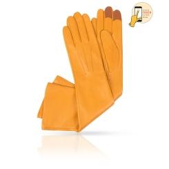 Длинные сенсорные перчатки из натуральной кожи ягненка, желтого цвета от Michel Katana, арт. i.K81-ARI_27/CITRUS