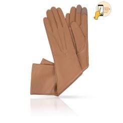 Сенсорные перчатки светло-коричневого цвета из натуральной кожи ягненка от Michel Katana, арт. i.K81-ARI_27/EARTH