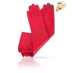 Длинные сенсорные женские перчатки из красной натуральной кожи ягненка от Michel Katana, арт. i.K81-ASTRA_26/F.RED