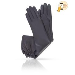 Длинные сенсорные женские перчатки из синей натуральной кожи ягненка от Michel Katana, арт. i.K81-BRETEA_26/NAVY