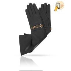 Длинные сенсорные женские перчатки из черной натуральной кожи ягненка от Michel Katana, арт. i.K81-BRIE_21/BL
