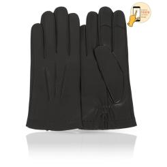 Сенсорные мужские перчатки из натуральной кожи ягненка черного цвета от Michel Katana, арт. i.K81-BRL/BL