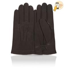 Мужские сенсорные перчатки из натуральной кожи ягненка темно коричневого цвета от Michel Katana, арт. i.K81-BRL/KAKY