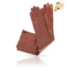 Сенсорные перчатки коньячного цвета из натуральной кожи ягненка от Michel Katana, арт. i.K81-ELLIS_26/COGN