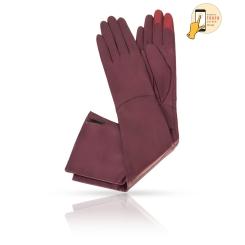 Женские перчатки из натуральной кожи ягненка винного оттенка, для сенсорных экранов от Michel Katana, арт. i.K81-ELLIS_26/WINE