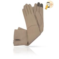 Стильные сенсорные перчатки из натуральной кожи ягненка, светло-серого цвета от Michel Katana, арт. i.K81-ELLIS_27/MUD