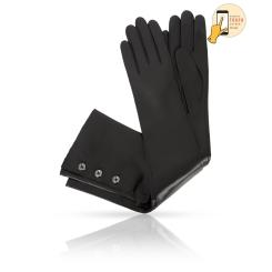 Длинные сенсорные женские перчатки из черной натуральной кожи ягненка от Michel Katana, арт. i.K81-NASTRE_32/BL