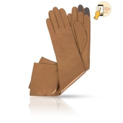 Длинные женские сенсорные перчатки из коричневой натуральной кожи ягненка от Michel Katana, арт. i.K81-OPERA_26/PERL.BR