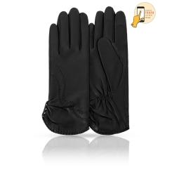 Классические женские перчатки из матовой натуральной кожи ягненка от Michel Katana, арт. i.K81-PIUME/BL