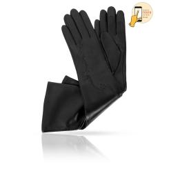 Длинные женские перчатки из натуральной черной кожи ягненка от Michel Katana, арт. i.K81-VANCY_26/BL