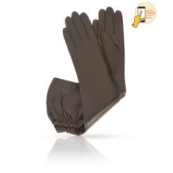 Стильные сенсорные женские перчатки из натуральной кожи ягненка оливкового цвета от Michel Katana, арт. i.K83-BRETEA_26/OLIVE