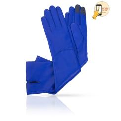 Женские сенсорные перчатки синего цвета, из натуральной кожи ягненка от Michel Katana, арт. i.K83-ELLIS_27/BLUE