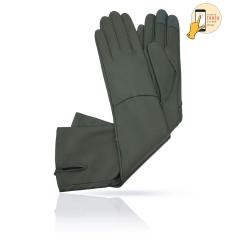 Сенсорные длинные женские перчатки из натуральной кожи ягненка, елового оттенка от Michel Katana, арт. i.K83-ELLIS_27/LICH