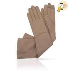 Женские сенсорные перчатки бежевого цвета, из натуральной кожи ягненка от Michel Katana, арт. i.K83-ELLIS_27/TAU