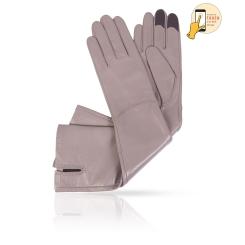 Сенсорные длинные перчатки серого цвета, из натуральной кожи ягненка от Michel Katana, арт. i.K83-ELLIS_27/TERRA