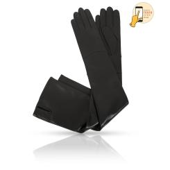 Длинные сенсорные перчатки черного цвета из натуральной кожи ягненка  от Michel Katana, арт. i.K83-ELLIS_48/BL