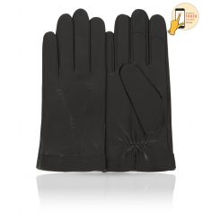 Сенсорные мужские перчатки из натуральной кожи ягненка черного цвета от Michel Katana, арт. i.K83-FORET/BL