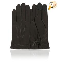 Сенсорные мужские перчатки из натуральной кожи ягненка темно коричневого цвета от Michel Katana, арт. i.K83-FORET/BL.GR