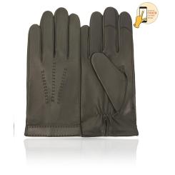 Сенсорные мужские перчатки из натуральной кожи ягненка оливкового цвета от Michel Katana, арт. i.K83-FORET/OLIVE