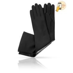Длинные женские перчатки из натуральной матовой кожи ягненка от Michel Katana, арт. i.K83-OPERA_26/BL
