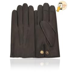 Сенсорные мужские перчатки черного цвета из натуральной кожи ягненка  от Michel Katana, арт. i.K83M-ATH/BL