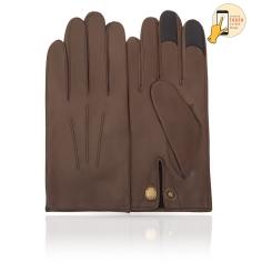 Мужские перчатки из натуральной кожи ягненка цвета мокко, для сенсорных экранов от Michel Katana, арт. i.K83M-ATH/MUCCA