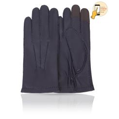 Сенсорные мужские перчатки из натуральной кожи ягненка темно синего цвета от Michel Katana, арт. i.K86-BERGER/NAVY