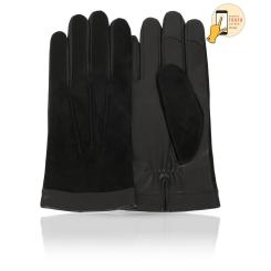 Мужские перчатки черного цвета из натуральной кожи и замши, для сенсорных экранов от Michel Katana, арт. i.KSL11-BROL/BL
