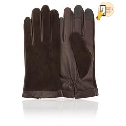 Сенсорные мужские перчатки  из натуральной кожи ягненка и замши от Michel Katana, арт. i.KSL11-BROL/MANCH
